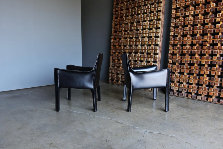 Italian Mario Bellini Leather Cab Lounge Chairs for Cassina For Sale