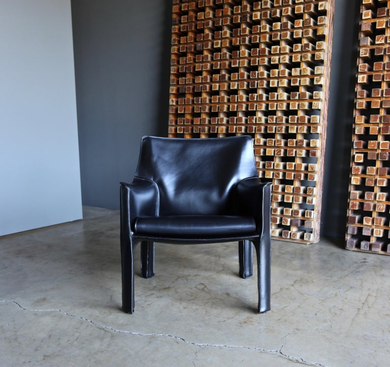 20th Century Mario Bellini Leather Cab Lounge Chairs for Cassina For Sale