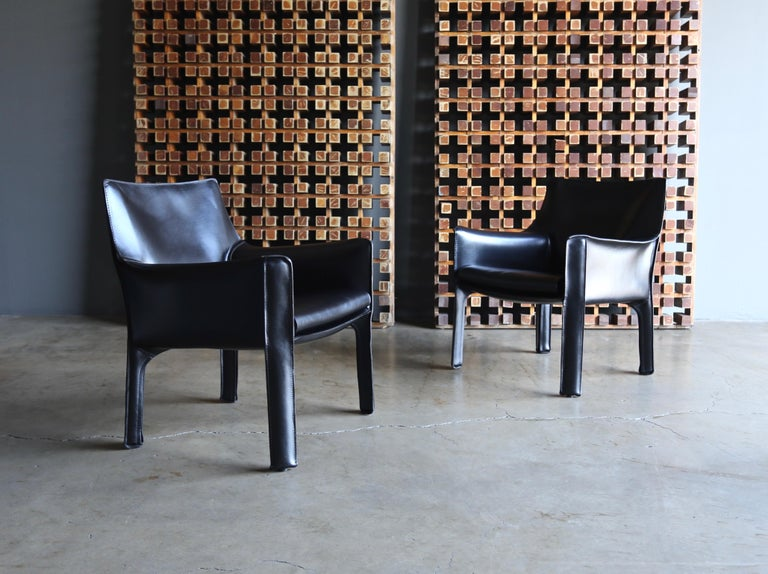 Steel Mario Bellini Leather Cab Lounge Chairs for Cassina For Sale