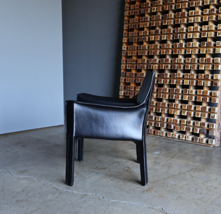 Mario Bellini Leather Cab Lounge Chairs for Cassina For Sale 2