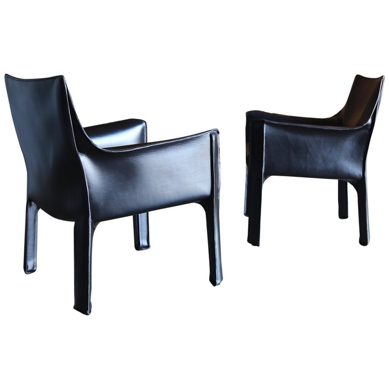 Mario Bellini Leather Cab Lounge Chairs for Cassina For Sale