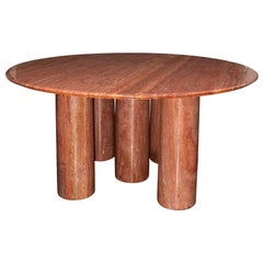 Mario Bellini Monumental Round 'Il Collonato' Red Persian Travertine Table