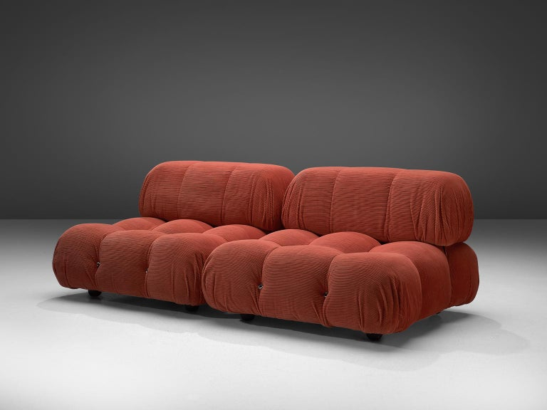 Mario Bellini, modular 'Cameleonda' sofa in coral/red fabric, Italy, 1972.