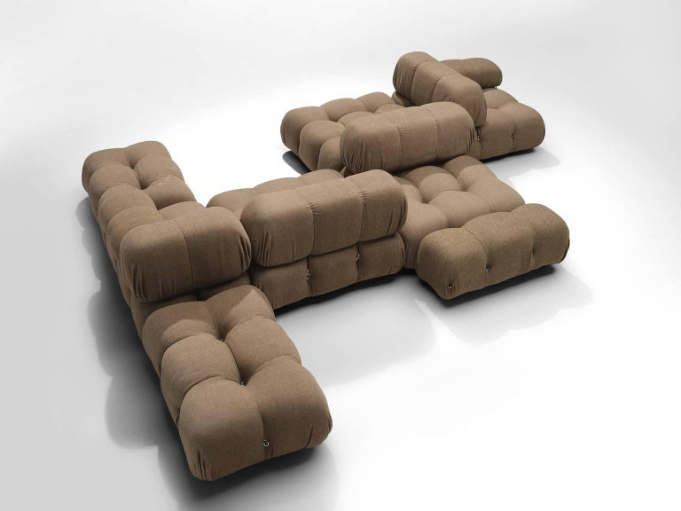 Mario Bellini, modular 'Camaleonda' sofa in original grey beige fabric upholstery, Italy, 1972.  The sectional elements of this can be used freely and apart from one another. The backs and armrests are provided with rings and carabiners, which