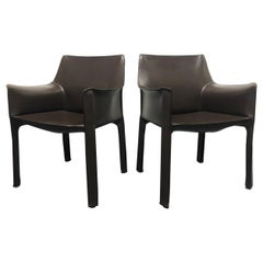 "Mario Bellini Pair of Brown Leather ""Cab"" Chairs for Cassina"
