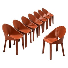 Mario Bellini Rare Set of Eight Lira Liuto Dining Chairs in Red Leather