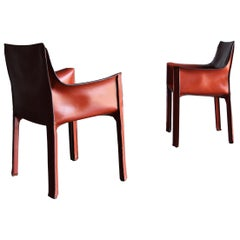 "Mario Bellini Red Leather ""Cab"" Chairs for Cassina, circa 1985"