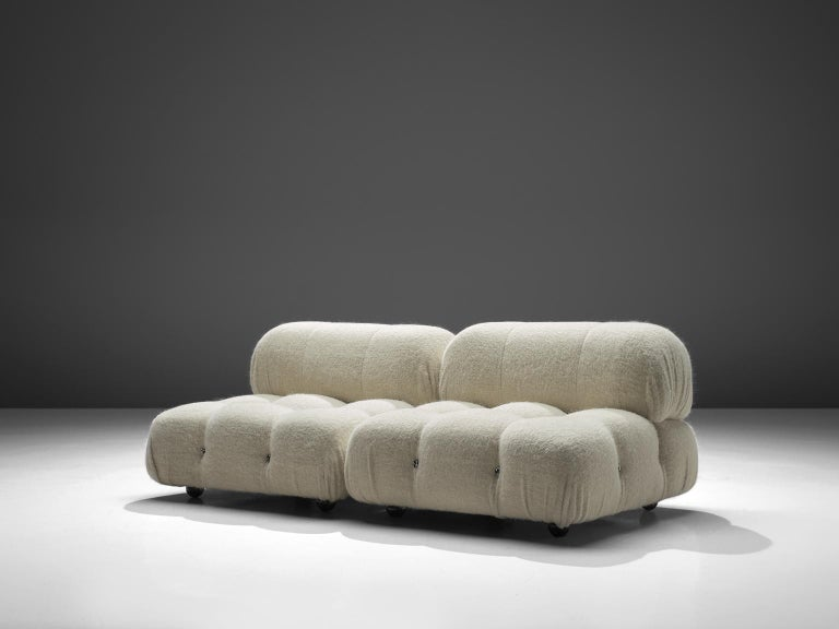 Mario Bellini, 'Camaleonda' sofa, in white Pierre Frey wool-mix upholstery, Italy, 1972.  These sofa elementen are made on request in our upholstery atelier and consists of two large elements and two back rests. The sectional elements this sofa