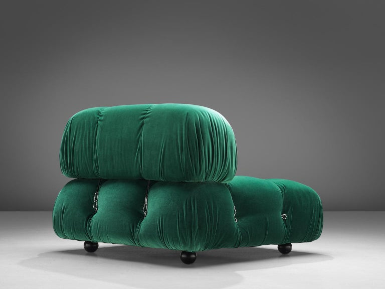 Mario Bellini, modular 'Cameleonda' sofa in green fabric, Italy, 1972.