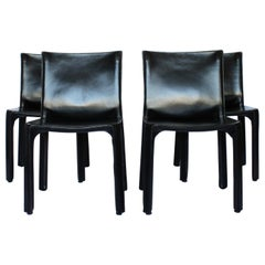 Mario Bellini Set of 4 Cab Chairs, Cassina Black Leather