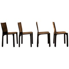 Mario Bellini Set of 4 Cab Chairs, Cassina Black Patinated Leather