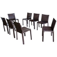 "Mario Bellini Set of Eight Brown Leather ""Cab"" Chairs for Cassina"