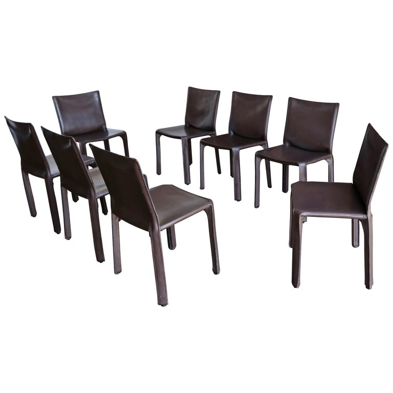 Miraculous Mario Bellini Set Of Eight Brown Leather Cab Chairs For Cassina Ocoug Best Dining Table And Chair Ideas Images Ocougorg
