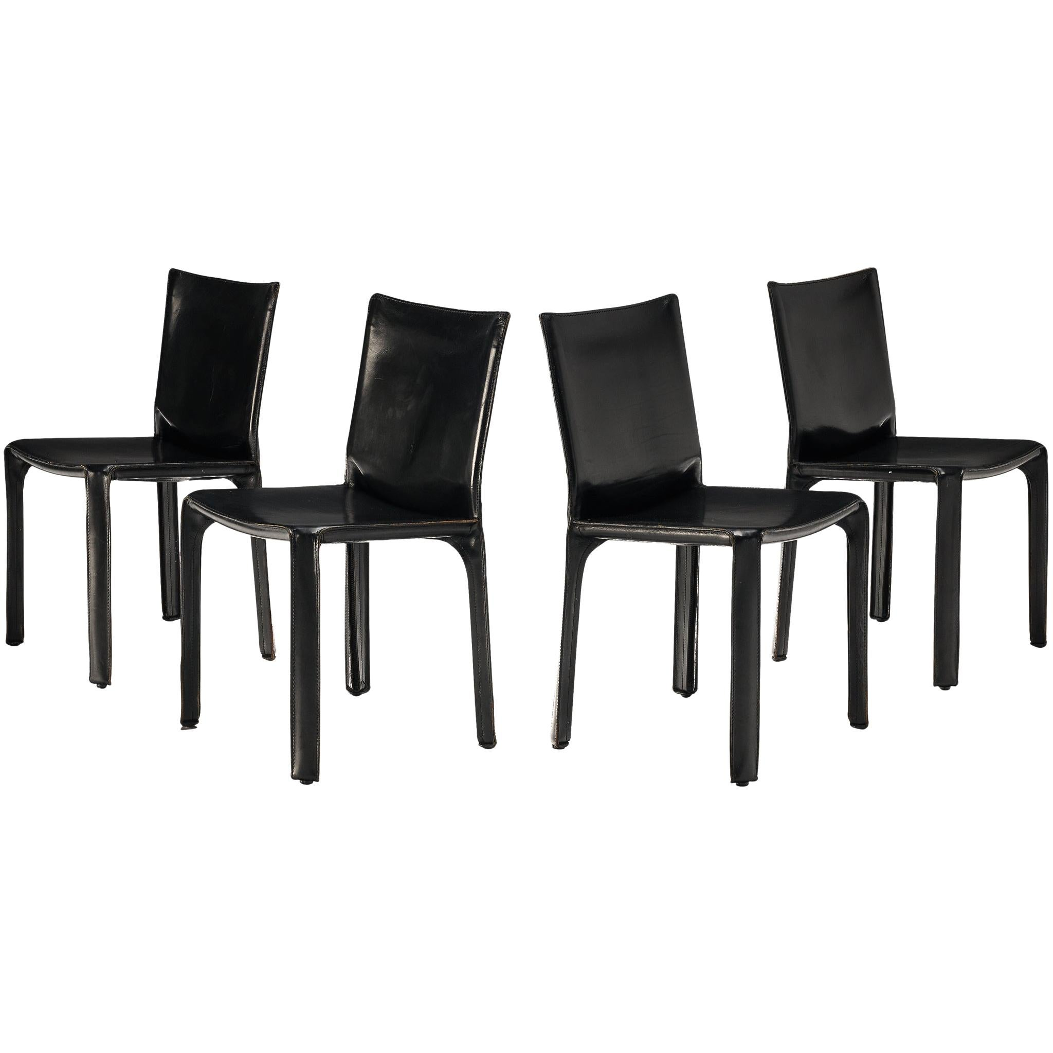 Mario Bellini Set of Four Black 'Cab' Dining Chairs