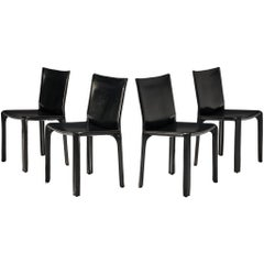 Mario Bellini Set of Four Black 'Cab' Dining Chairs