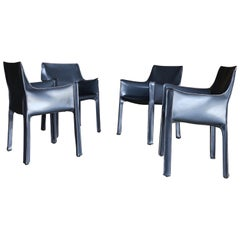 """Mario Bellini Set of Four Gray Leather """"Cab"""" Chairs for Cassina"""