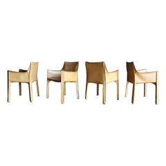"""Mario Bellini Set of Four Leather """"Cab"""" Chairs for Cassina"""