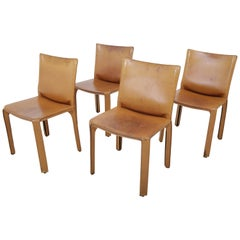 Mario Bellini Set of Four Leather CAB Chairs