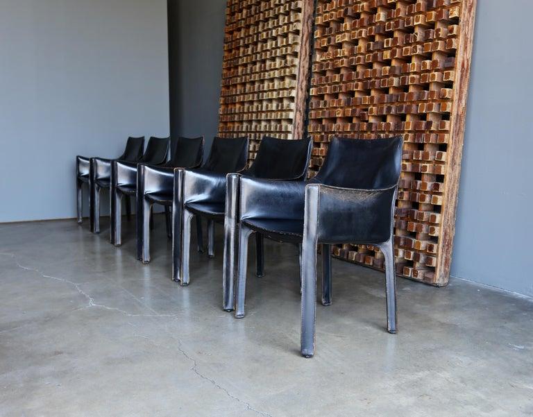 Modern Mario Bellini Set of Six Black Leather
