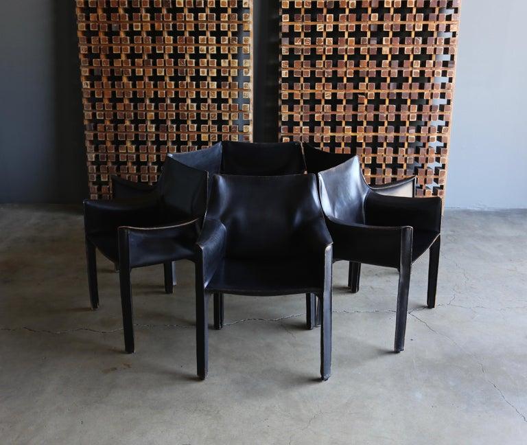 Italian Mario Bellini Set of Six Black Leather