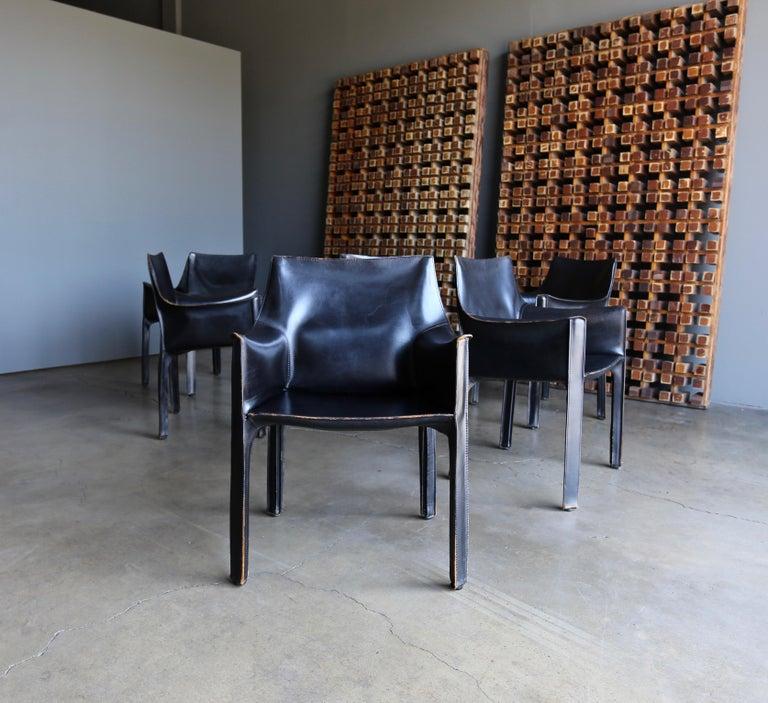 Mario Bellini Set of Six Black Leather