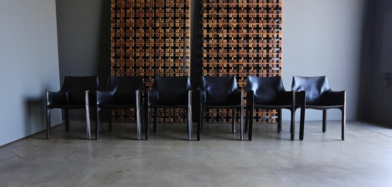 20th Century Mario Bellini Set of Six Black Leather