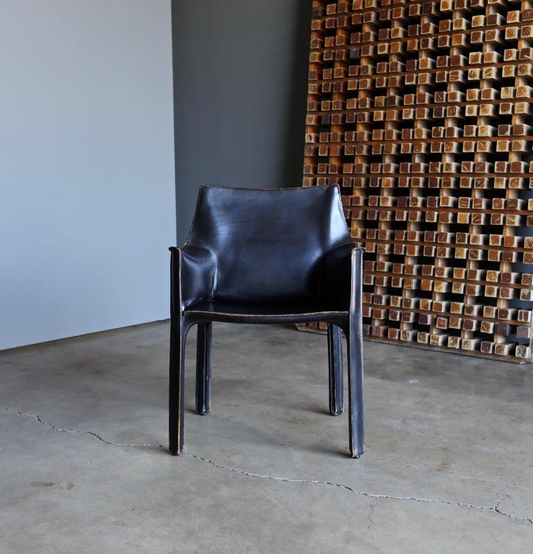Steel Mario Bellini Set of Six Black Leather