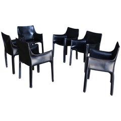 "Mario Bellini Set of Six Black Leather ""Cab"" Chairs for Cassina"