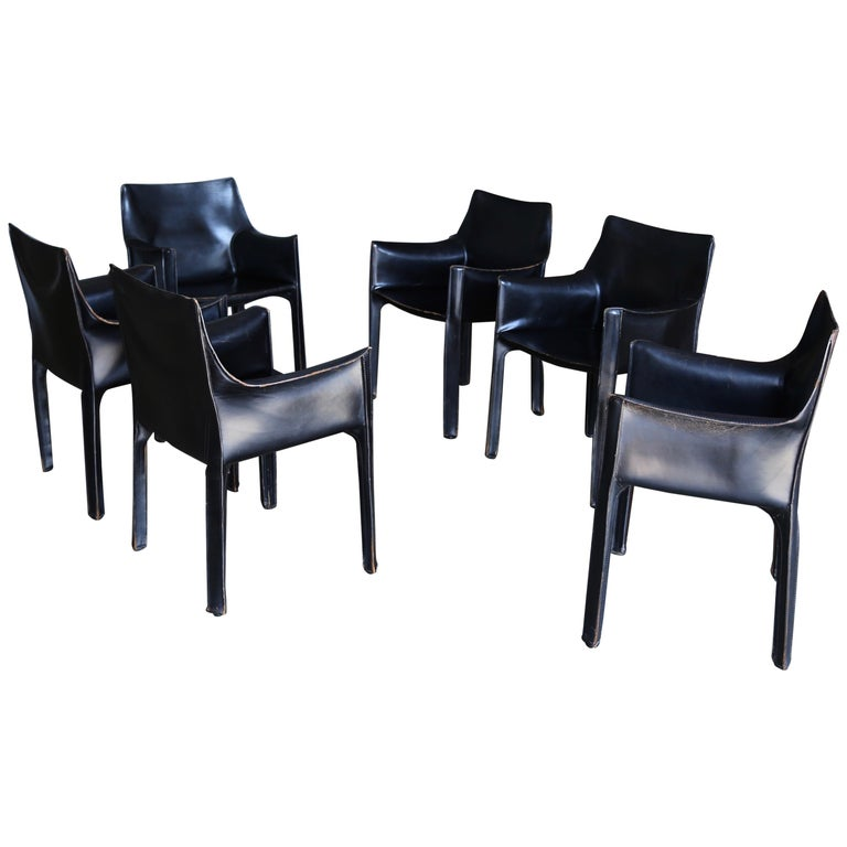 """Mario Bellini Set of Six Black Leather """"Cab"""" Chairs for Cassina"""
