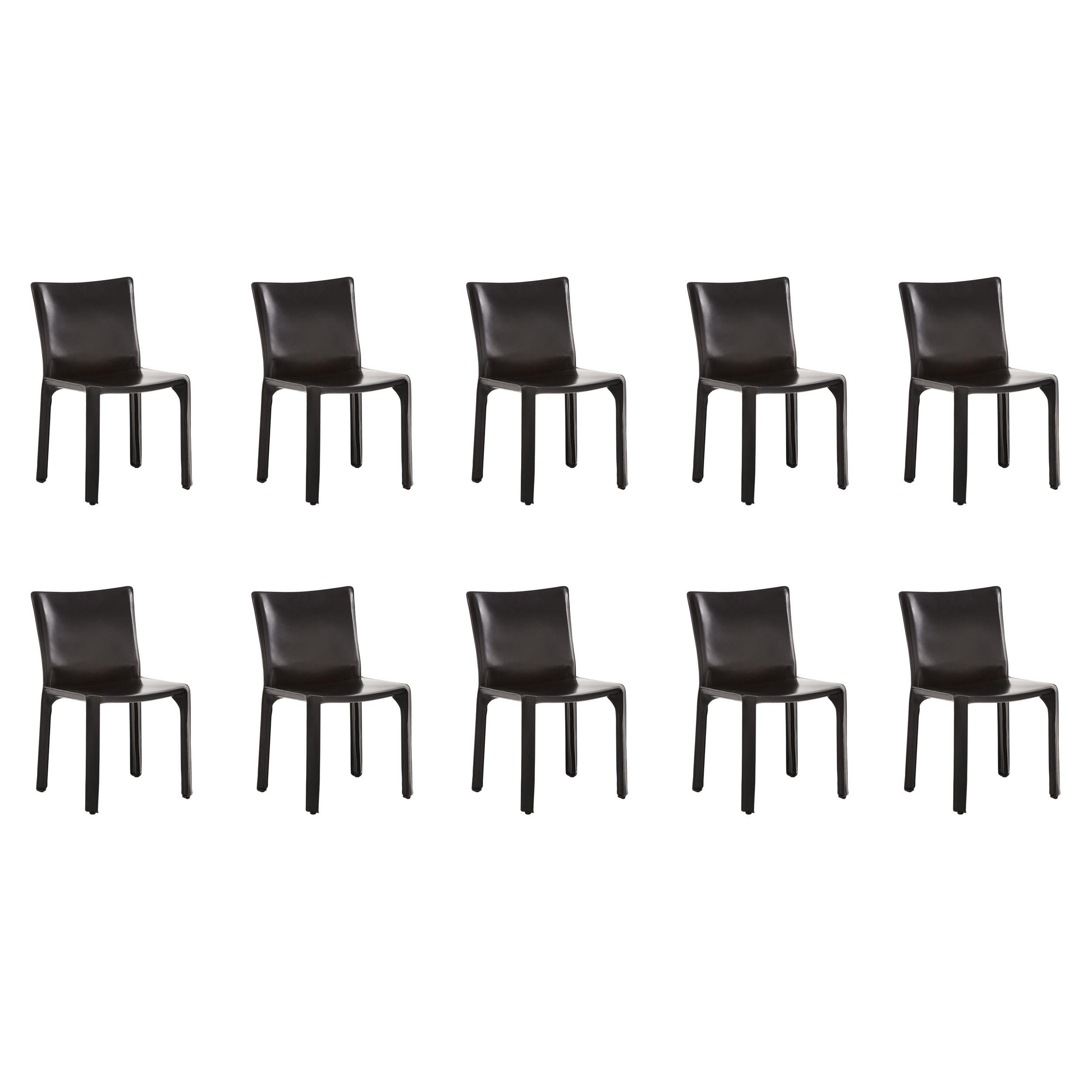 Mario Bellini Set of Ten Chairs CAB 412 in Black Leather Cassina, 1970s, Italy