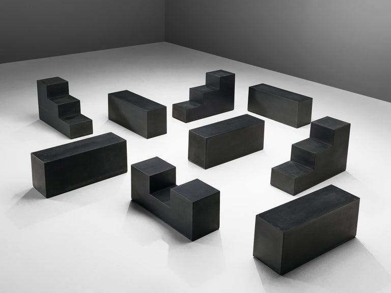 Mario Bellini for B&B Italia, 'Gli Scacchi' element in black polyurethane, Italy, 1971.   These versatile 'chess' building blocks can be used both as tables or seats. Signed with manufacturer's marks B&B and are made out of self-skinning
