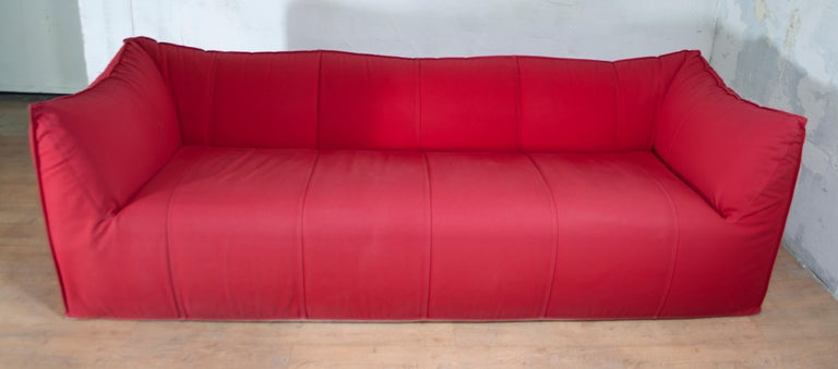 Mid-Century Modern Mario Bellini Sofa and Pouf Tribambola Red Canvas Lining