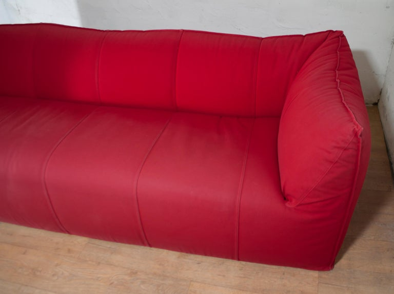 Late 20th Century Mario Bellini Sofa and Pouf Tribambola Red Canvas Lining