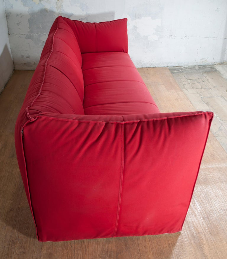 Mario Bellini Sofa and Pouf Tribambola Red Canvas Lining