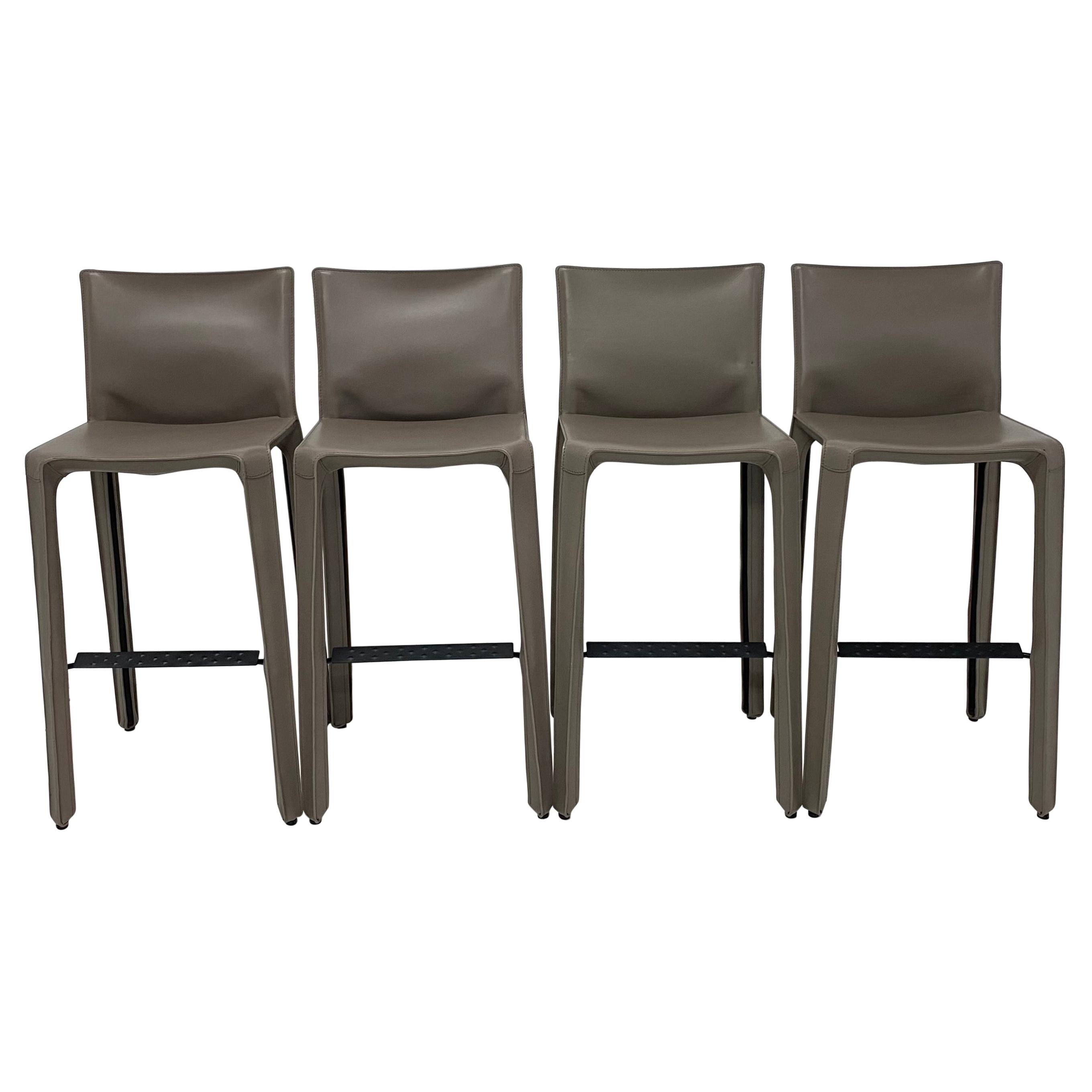 Mario Bellini Taupe Gray Leather CAB Barstools for Cassina, Set of Four