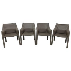 Mario Bellini Taupe Grey Cab 413 Dining or Side Chairs for Cassina, Set of Four