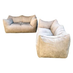 """Mario Bellini Taupe """"Le Bambole"""" 2-Seat Sofa for B&B Italia, 1976, Set of 2"""