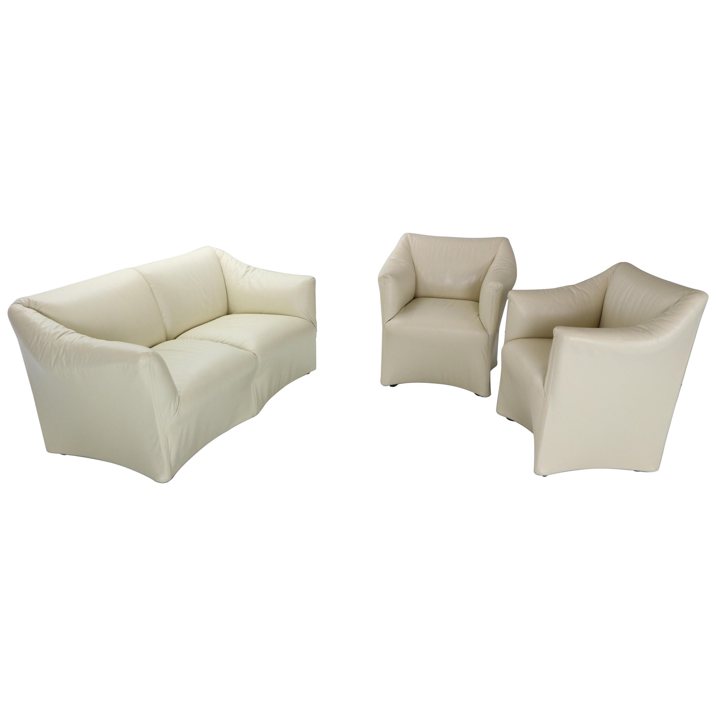 """Mario Bellini """"Tentazione"""" Crème Leather Living Room Set for Cassina, 1970s"""