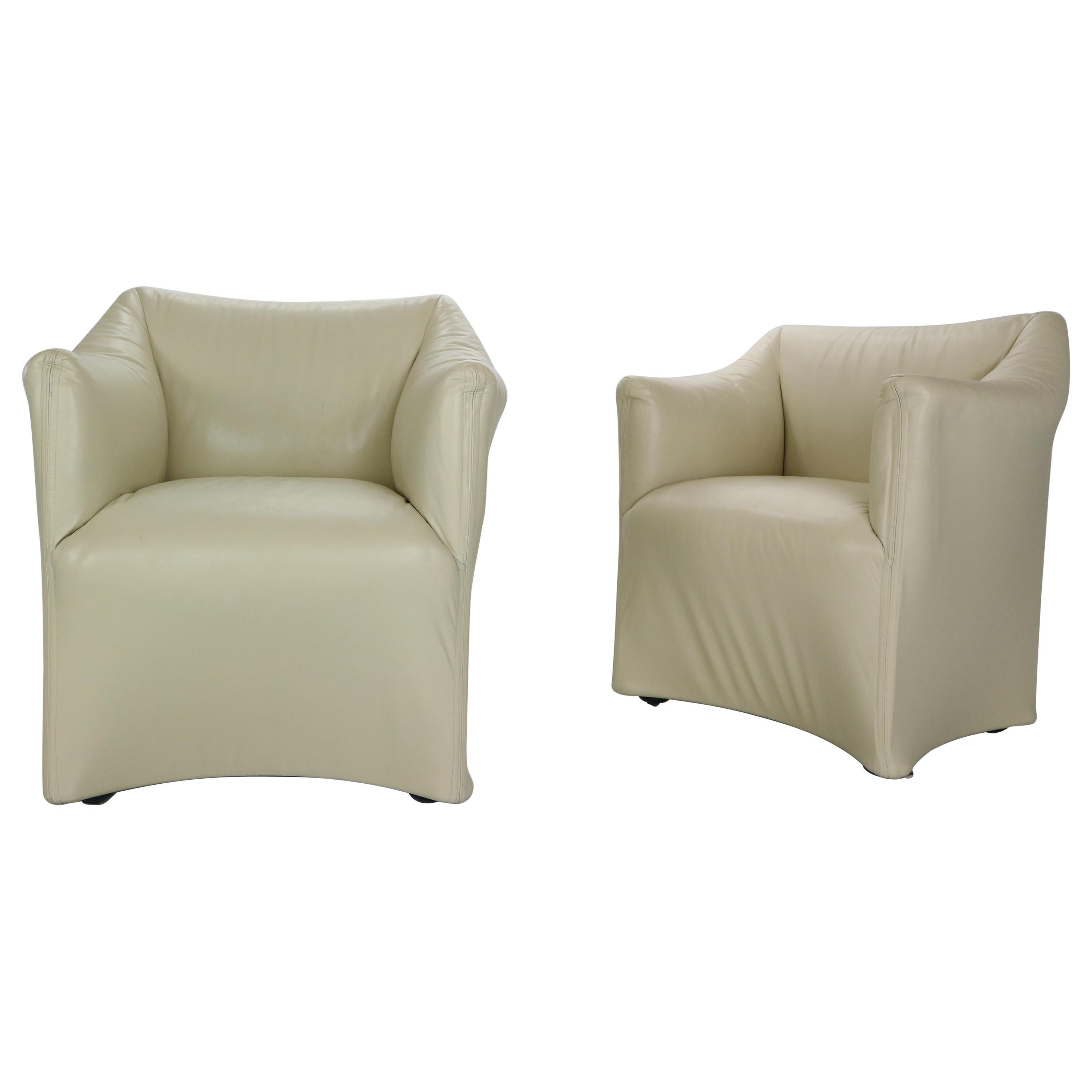 """Mario Bellini """"Tentazione"""" Set of 2 Leather Lounge Armchairs for Cassina, 1970s"""