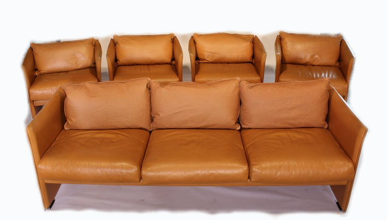 Mario Bellini Tilbury Three-Seat Leather Sofa or Couch For Sale 13