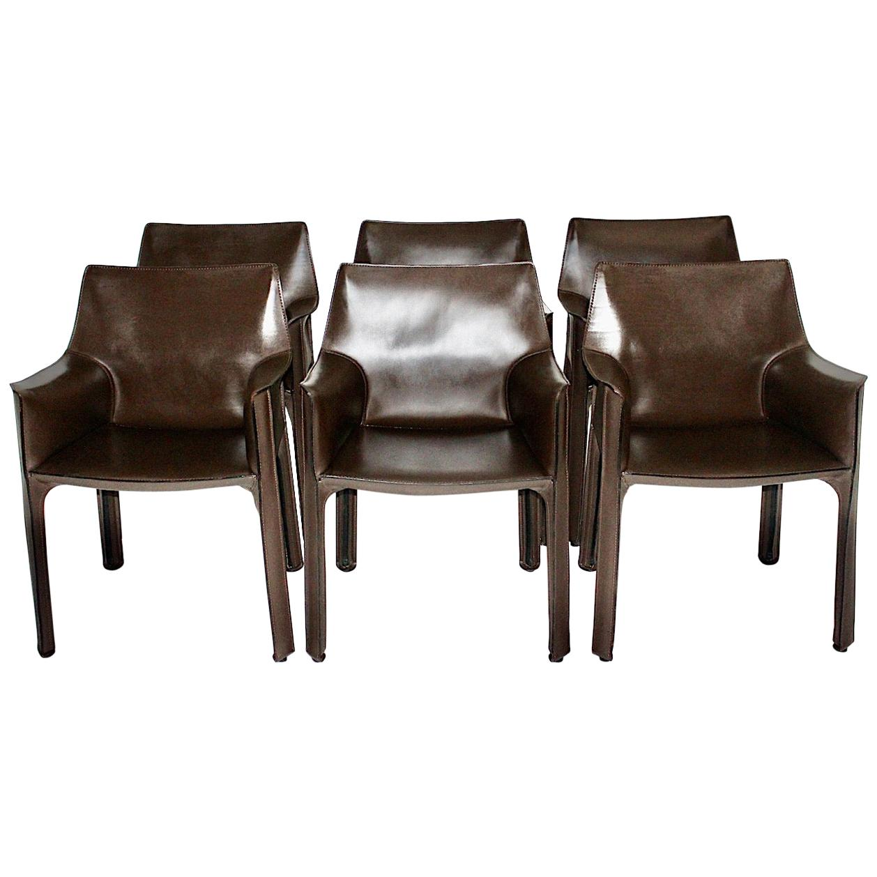 Mario Bellini Vintage Brown Six Leather CAB Dining Chairs Cassina 1970s