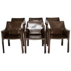 Mario Bellini Vintage Brown Six Leather Dining Chairs or Armchairs Cassina 1970s