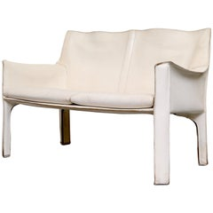 Mario Bellini White Leather Cab Love Seat for Cassina