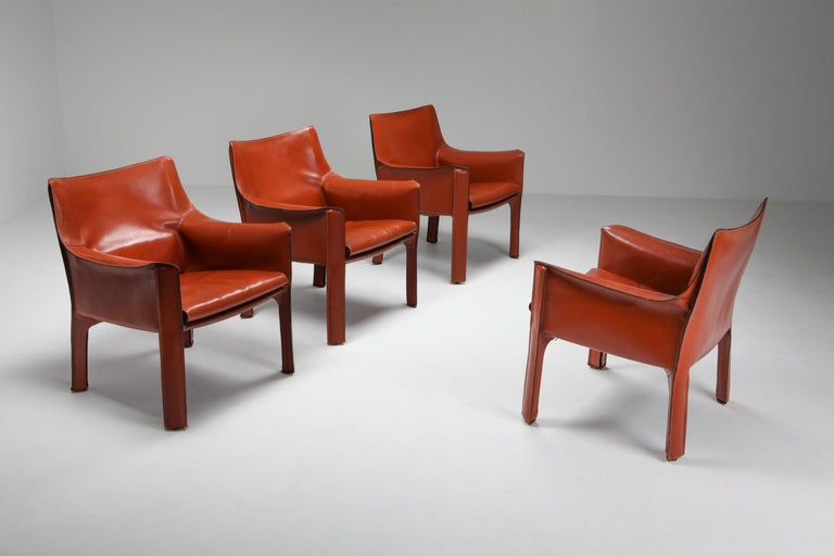 CAB 414 terracotta red easy chair, Mario Bellini, Cassina 1982; Armchair; Dining Chair; Italian Design; Italian classics; Side Chair; Leather chair  CAB Catalog I Contemporanei  Year of production: 1982 Armchair and settee with enameled steel