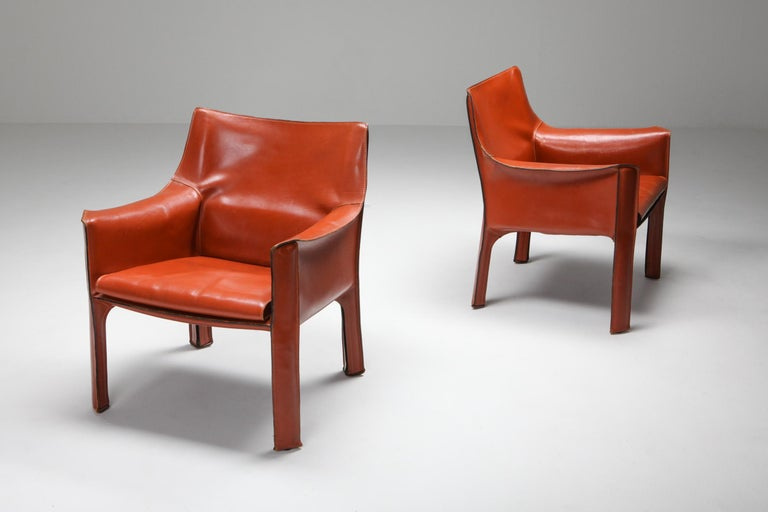 Steel Mario Bellini's CAB Armchair 414 for Cassina Italy For Sale