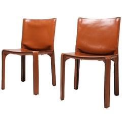 Mario Bellini's CAB Chair in Cognac Leather, Cassina, 1970s