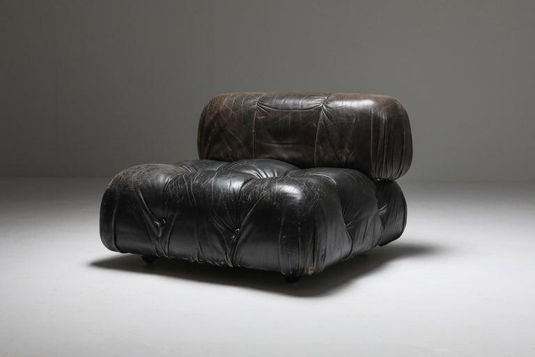 Mario Bellini's 'Camaleonda' Lounge Chairs in Original Black Leather For Sale 4