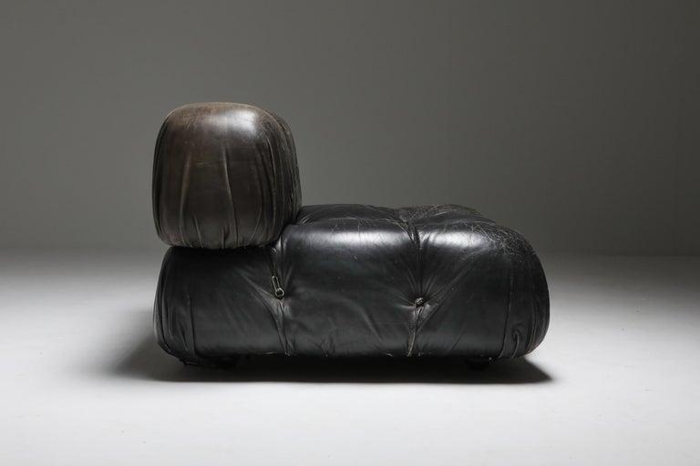Mario Bellini's 'Camaleonda' Lounge Chairs in Original Black Leather For Sale 5