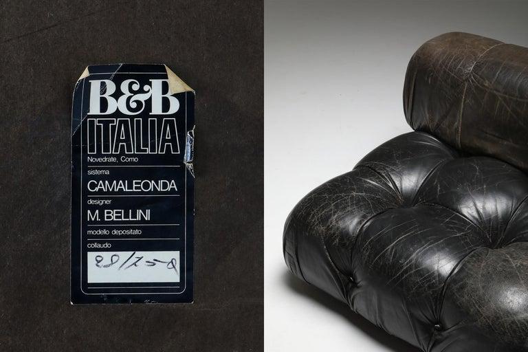 Mario Bellini's 'Camaleonda' Lounge Chairs in Original Black Leather For Sale 7