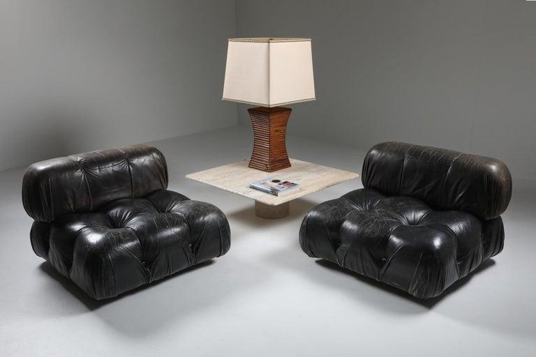 Post-Modern Mario Bellini's 'Camaleonda' Lounge Chairs in Original Black Leather For Sale